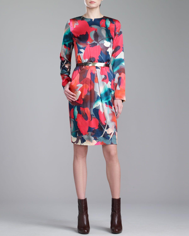 St. John Collection Bloom-Print Jewel-Neck Dress & Medium Leather Hip Belt - Neiman Marcus