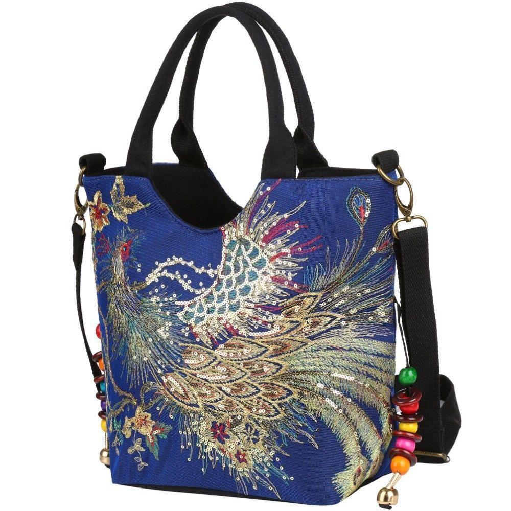 ca4590d12b Luxury New Canvas Women Handbag National Phoenix Embroidered Shoulder Totes  Bag #LuxuryNewChina #ShoulderBag