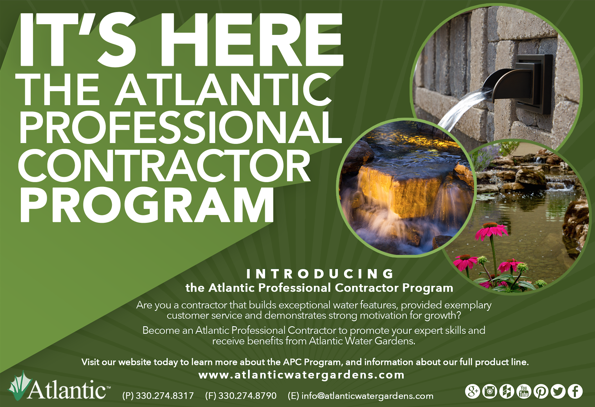 Contractor Information About Atlantic Water Gardens Products