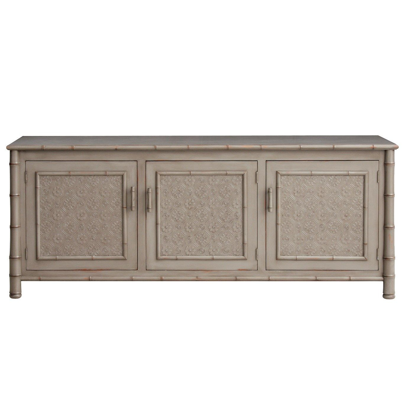 Redford House Faux Bamboo Entertainment Console Faux Bamboo