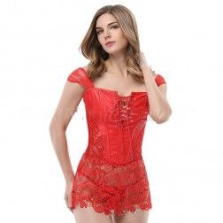 d1c08e3d65a Women Sexy Lingerie Red Faux Leather and Venice Lace Corset G-string Set Zipper  Lace Up S-6XL