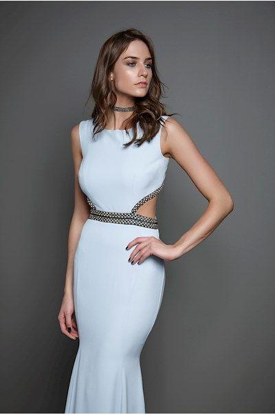 Vestido Longo Azul Recortes Bordado » Festas | Casamento | Pinterest