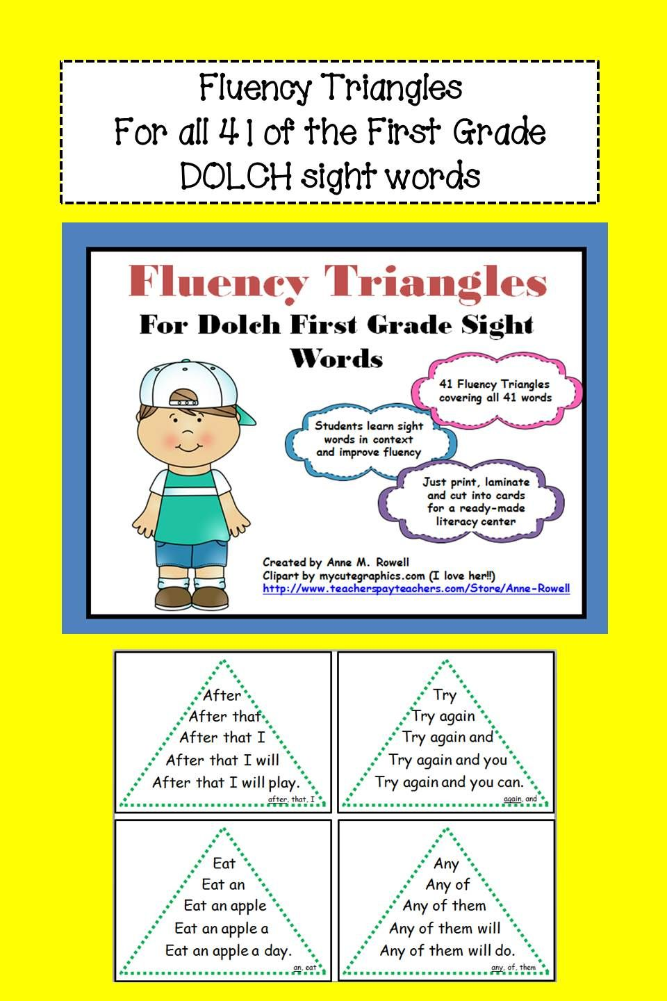 Workbooks kindergarten reading worksheets sight words : Reading Fluency Activity - Fluency Triangles® for First Grade ...