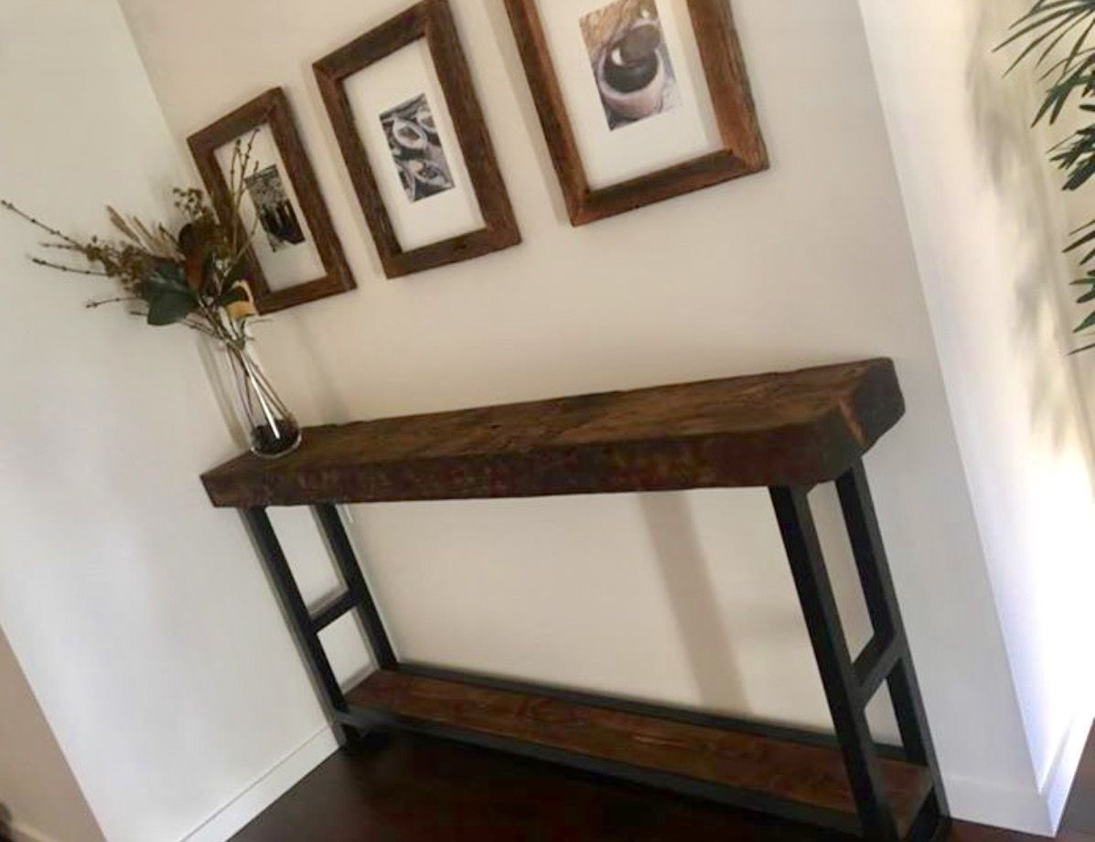 Recycled solid oregon industrial hall table console with for Reclaimed wood oregon