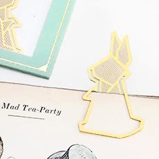 Gold bookmark - rabbit