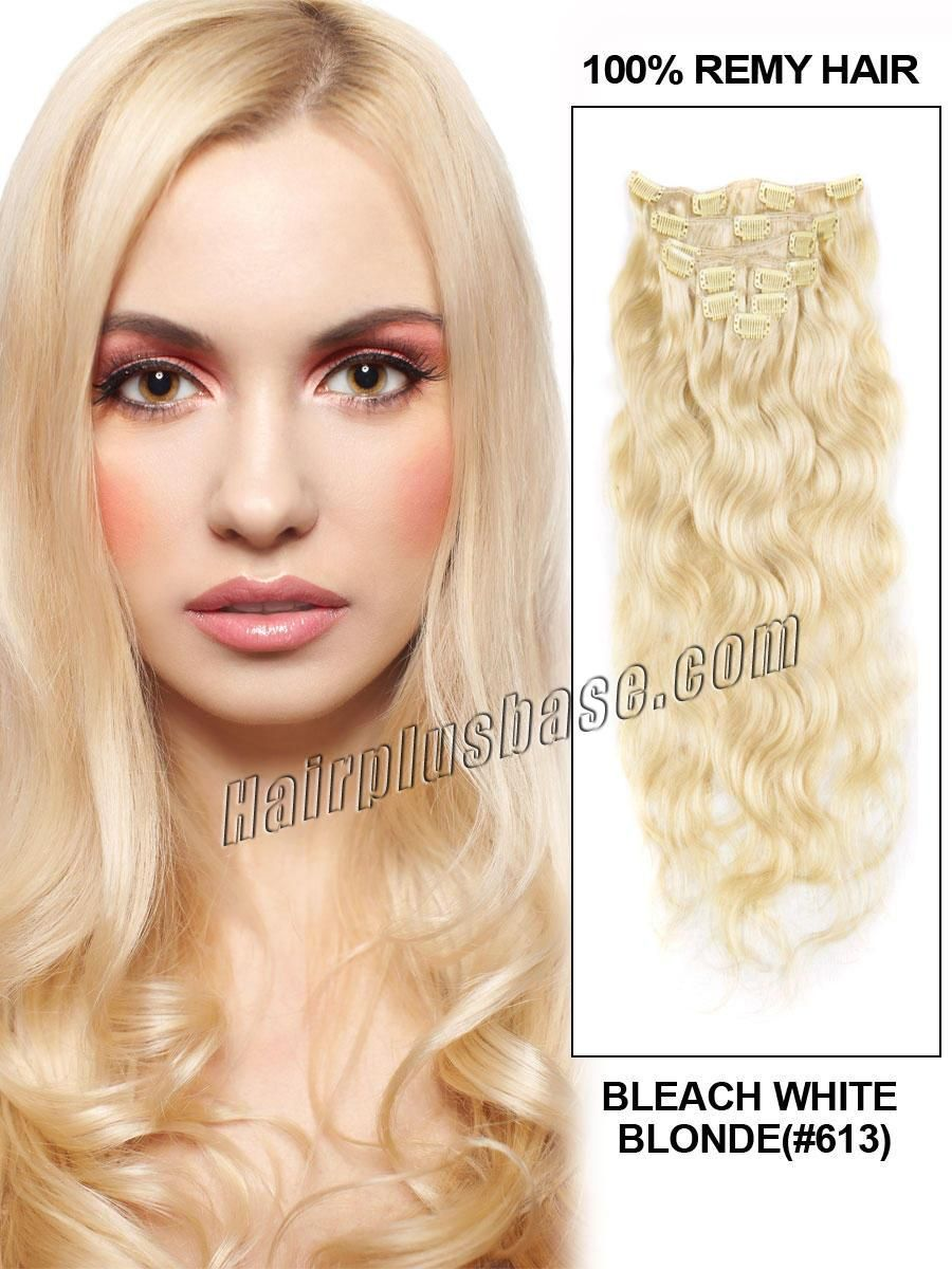 26 Inch 613 Bleach Blonde Clip In Hair Extensions Body Wave 11