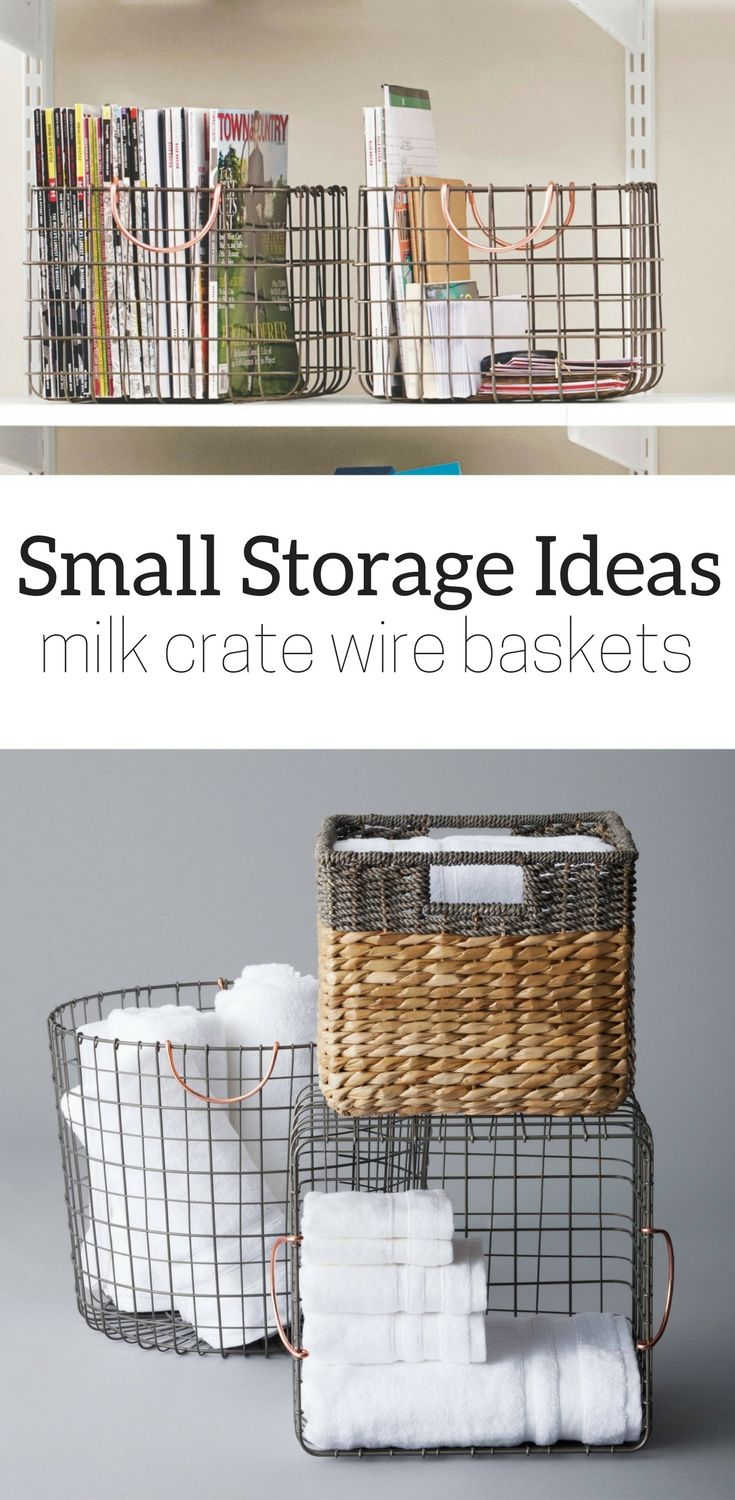 Threshold Small Milk Crate Wire Basket - Antique Pewter with Copper ...