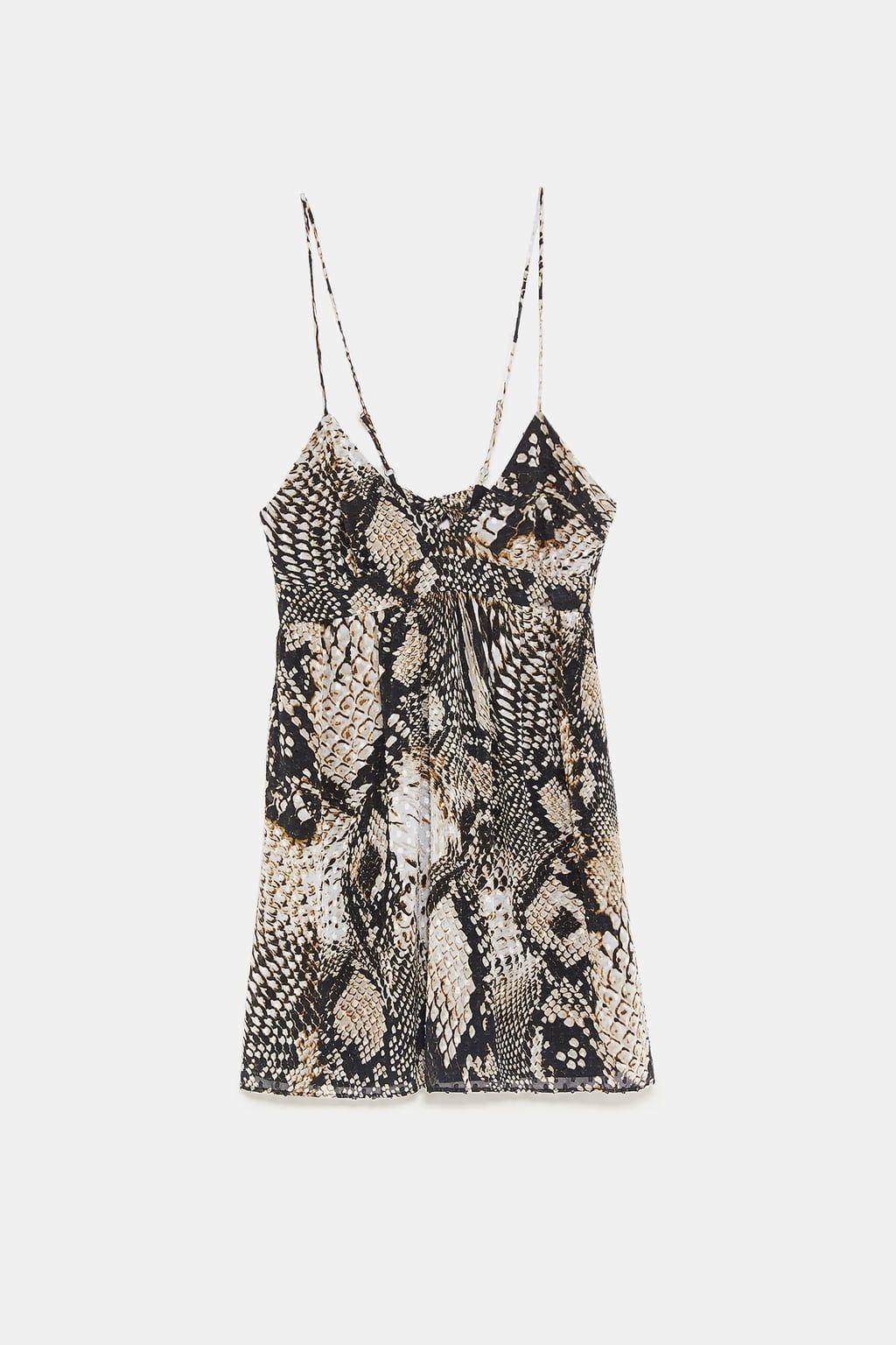 d874237889 Image 8 of SNAKESKIN PRINT DOTTED MESH DRESS from Zara