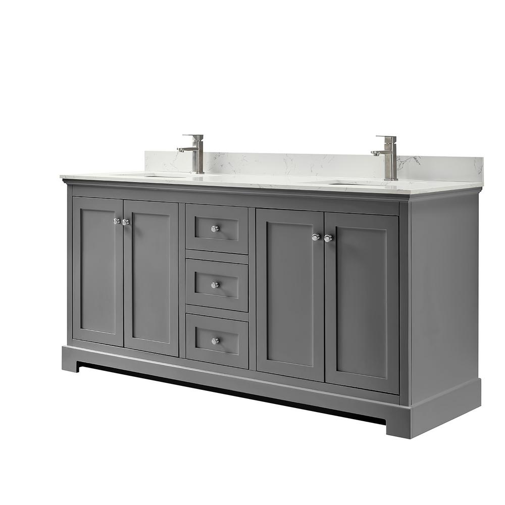 Wyndham Collection Ryla 72 In W X 22 In D Double Bath Vanity In Dark Gray With Cultured Marble Vanity Top In Carrara With White Basins Wca404072dkgccunsmxx In 2020 Marble Vanity Tops
