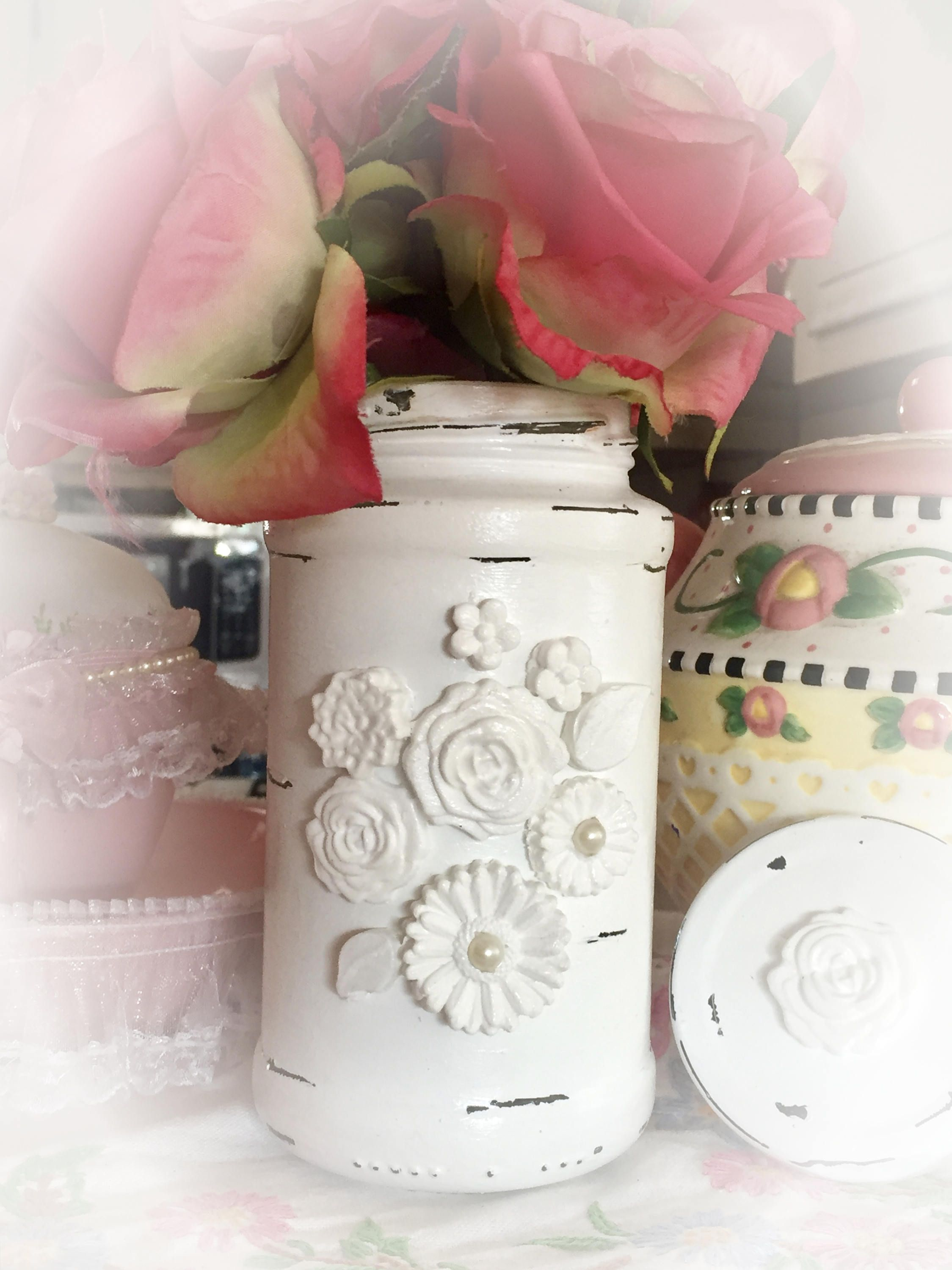 Mason jar wedding decoration ideas  Ornate Shabby Chic Glass Flower Vase Jar  Wedding Bridal Baby