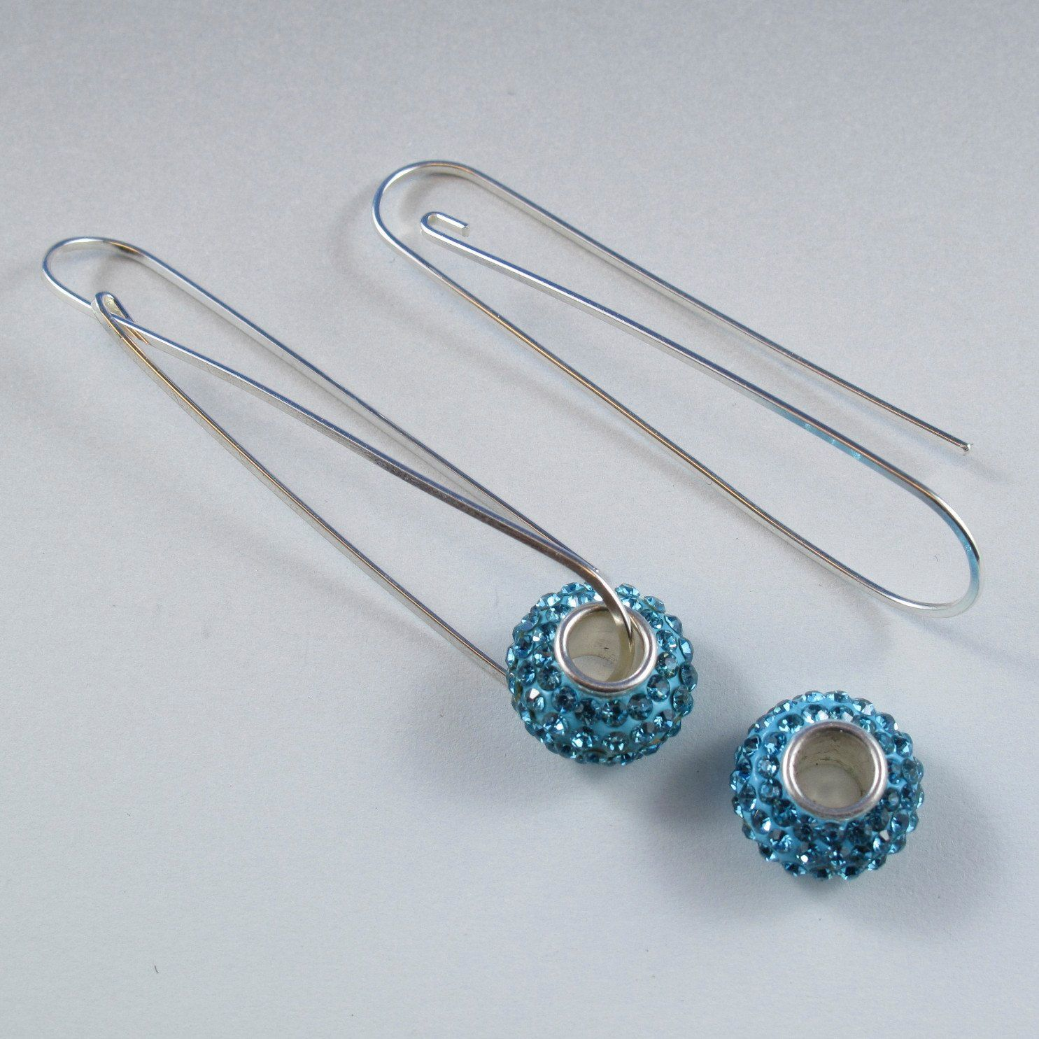STERLING SILVER earrings. wire earring, long earring, european beads ...