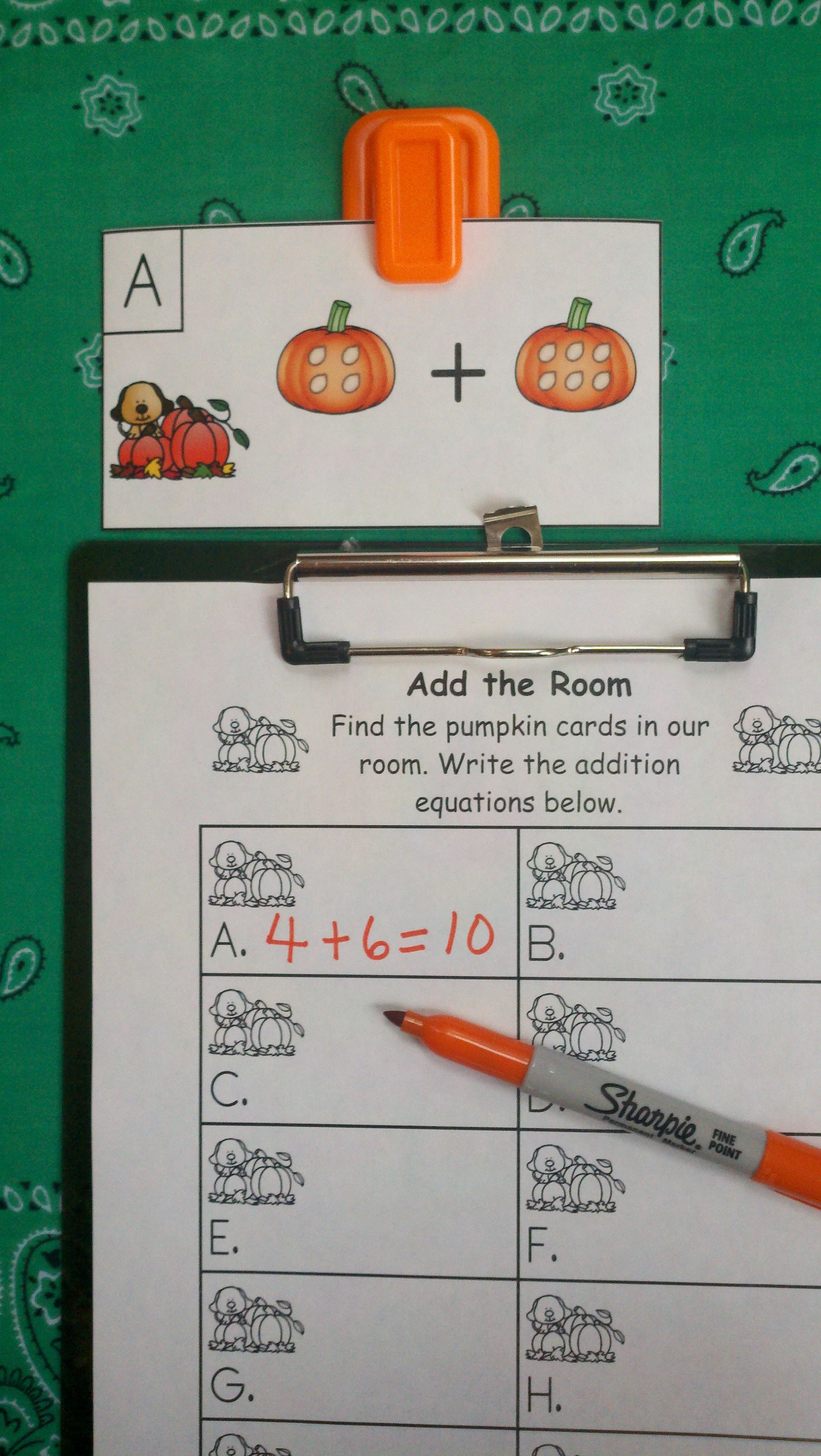 Count The Pumpkin Seeds And Write The Equation Pumpkins