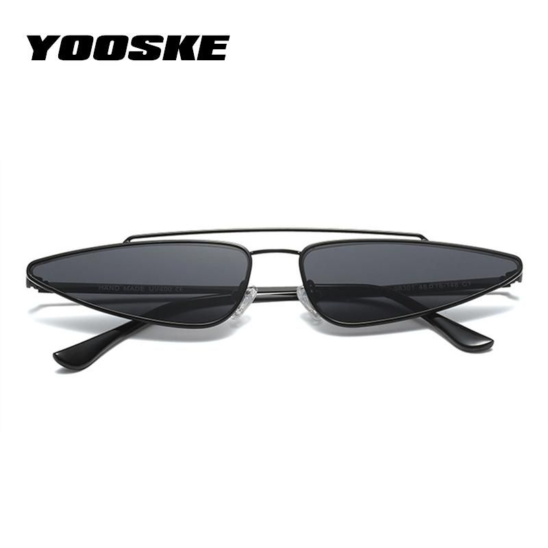 f6ab3f6697 YOOSKE Vintage Small Cat Eye Glasses Women Unique Style Retro Sunglasses  Metal Fashion Catwalk Anti-