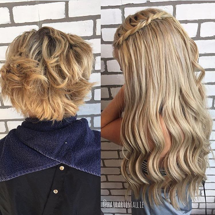 Total hair transformation!  Allie from Mandie Sue Salon used 2 packs of 16/22 wefts to achieve this look!  #bombshellextensions #hairtransformation #hairextensions