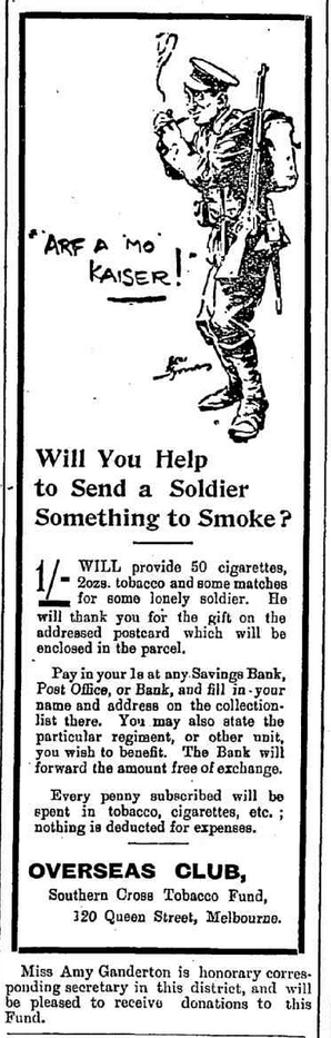 "WWI, 27 Dec 1916; ""Tobacco and matches for some lone soldier"" Advert, Narracan Shire Advocate, Vic."