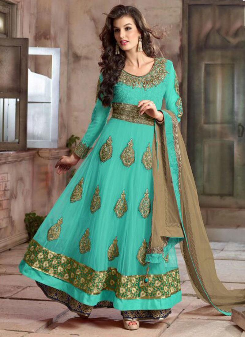 Invaluable Georgette Green Anarkali Suit | Lace Worked Salwar Suits ...
