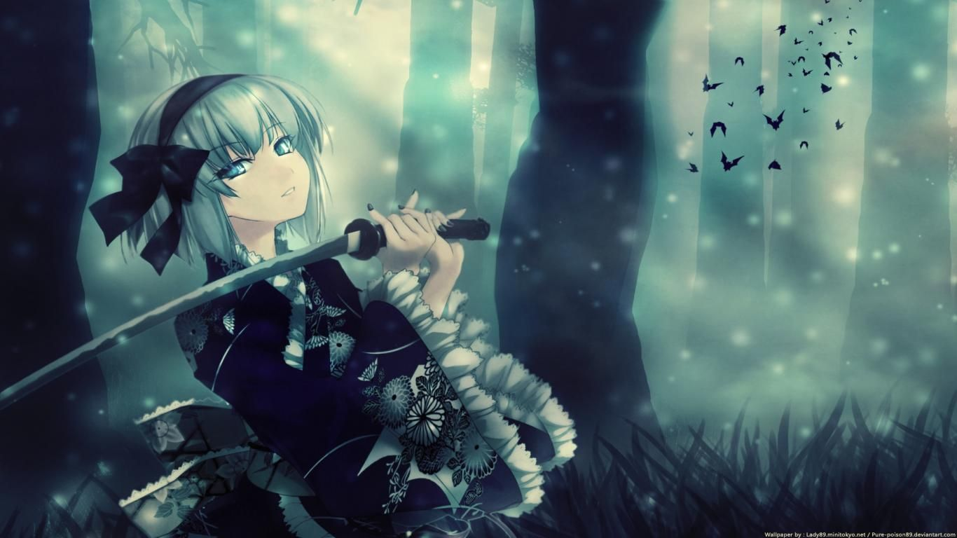 download cool anime girl samurai wallpaper 1366x768 | full hd