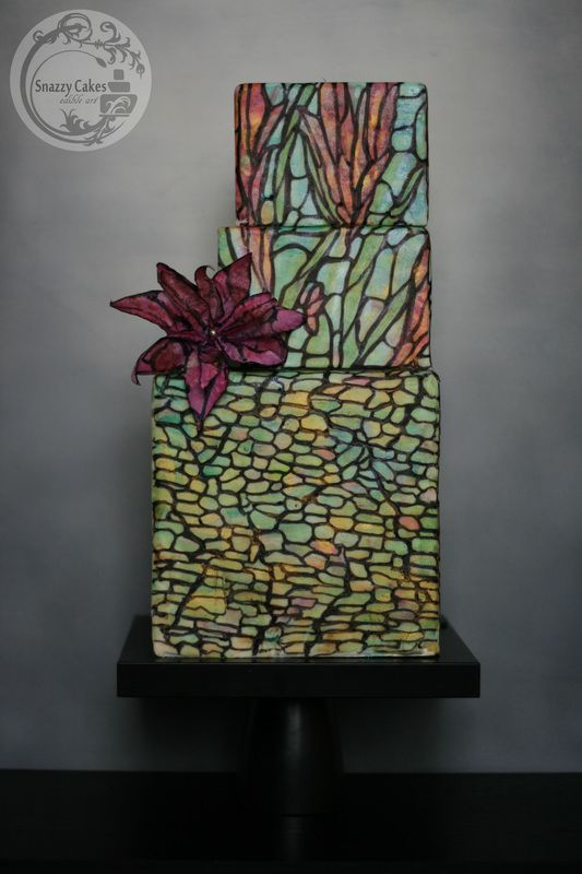 Square Painted Stained Glass Cake With Pink Wafer Paper Fantasy