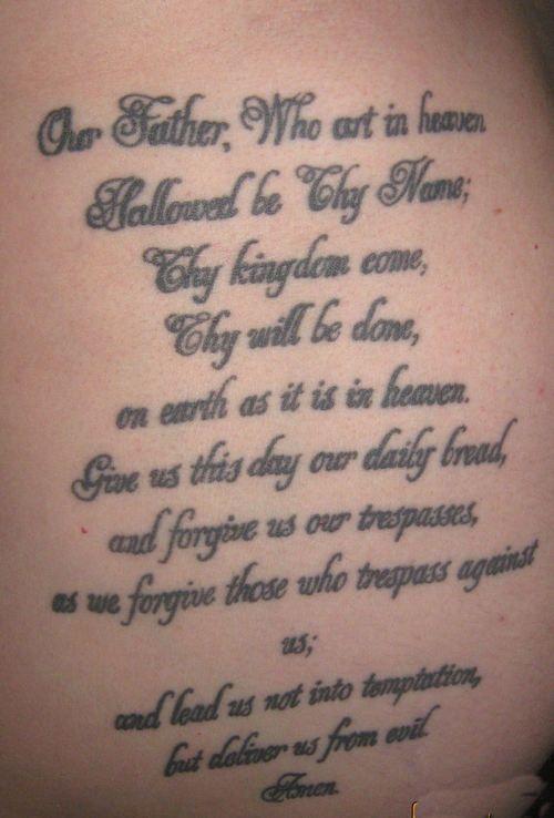 Jwalker21227 S Tattoo 5 Lords Prayer Phrase Tattoos Lords Prayer Tattoo Tattoos
