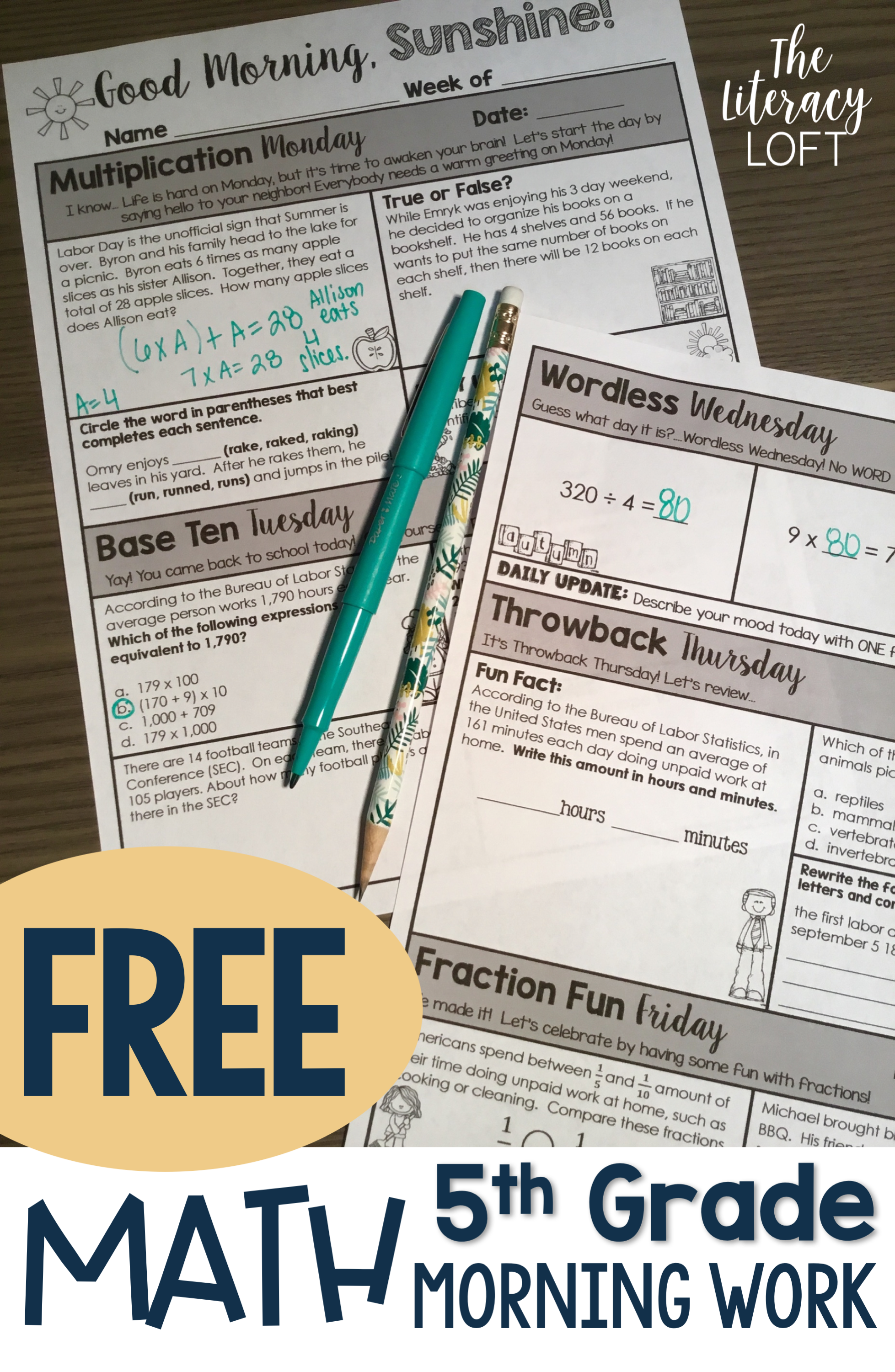 Math Morning Work 5th Grade Freebie This Is A Free