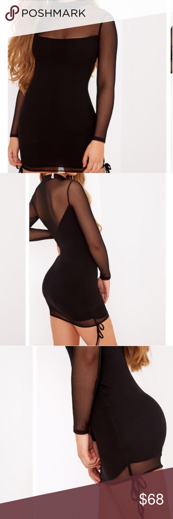 Plt black mesh mini dress black mesh mini dresses and neckline