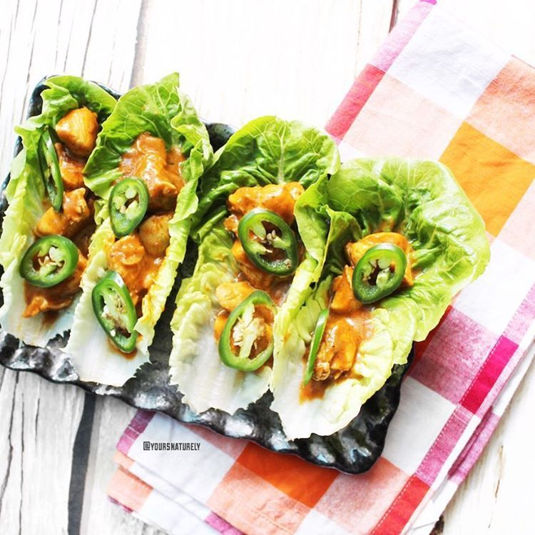 Dairy-free butter chicken in lettuce cups. Yes with jalapeño slices because I said so  so goooood