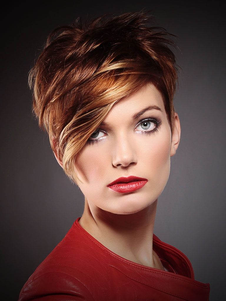 Short blonde hair with red highlights red hair with brown lowlights