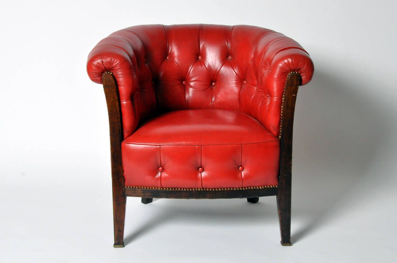 Vintage Tufted Red Leather Chair Red Leather Chair Leather Chair Comfy Chairs