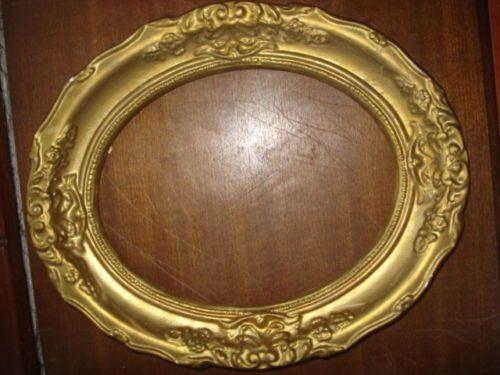Old Oval Gilted Gessoplaster Picturemirror Ornate Frame 12