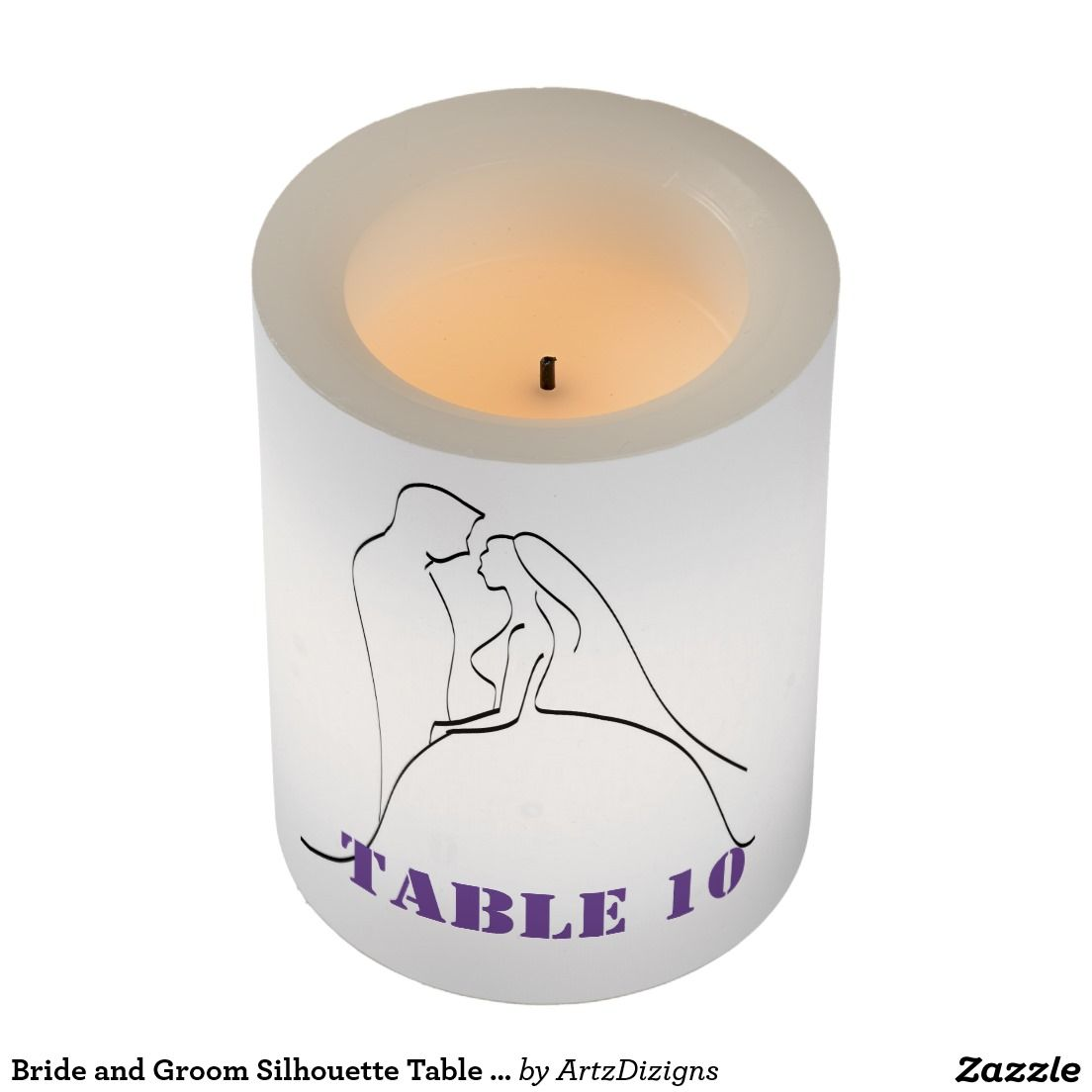 Bride and Groom Silhouette Table 10 - Candle  http://www.zazzle.com/artzdizigns&rf=238365382999242687
