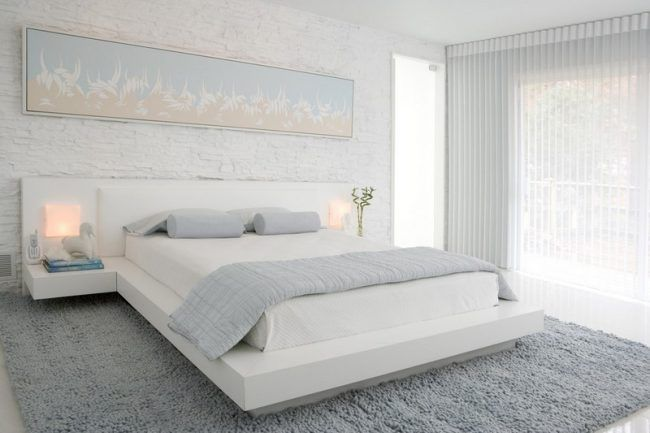 Wonderful Schlafzimmer Ideen Weiss Bett Natursteinwand Modern Good Looking