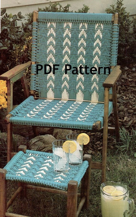 Hippie Macram 233 Chair And Footstool Vintage 1980 S Pattern