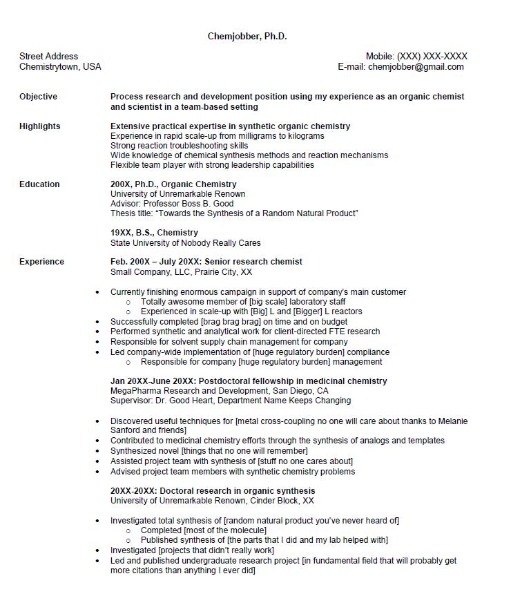 Senior Chemist Resume Sample Resumesdesign Resume Tips Resume Objective Sample Sample Resume