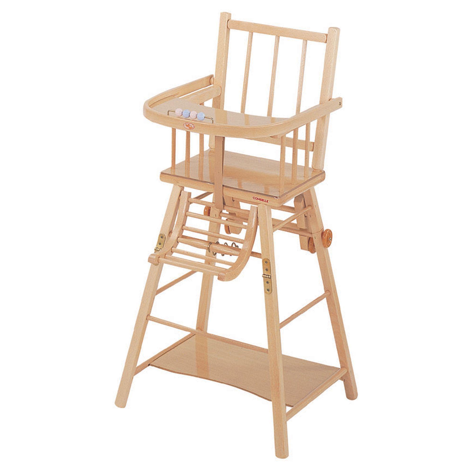 Chaise haute transformable pour bébé COMBELLE en hêtre Vernis ...