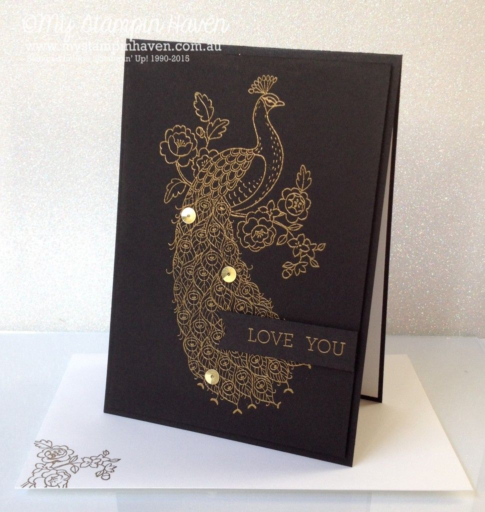 Perfect For Anniversary Cards And: Perfect Peacock, Crazy About You Gold Embossed Wedding