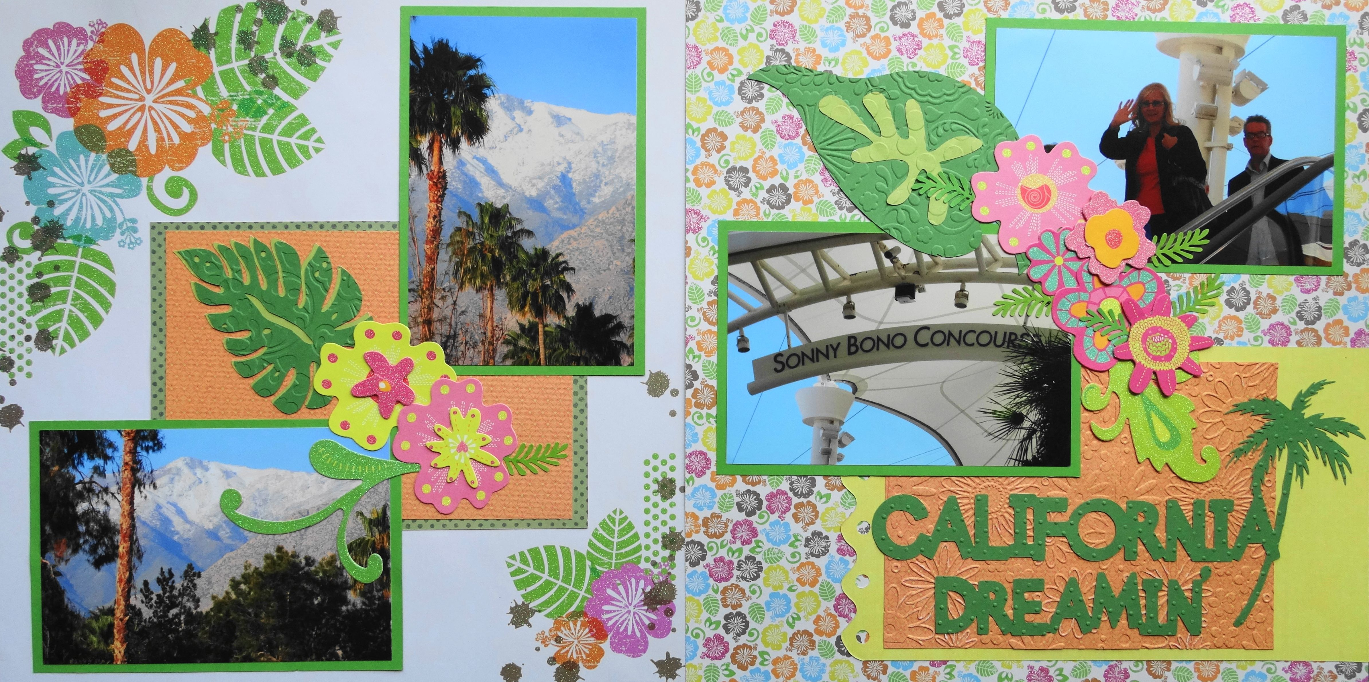 Scrapbook ideas with flowers - Scrapbook Page California Dreamin 2 Page Travel Layout With Tropical Flowers And A