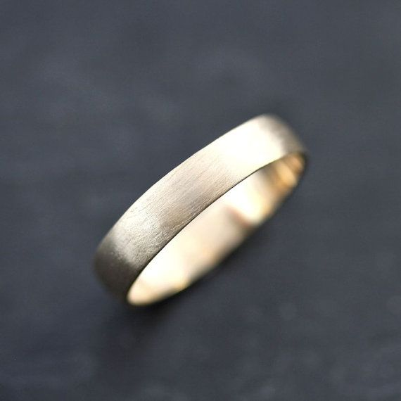 Mens Gold Wedding Band 45mm Low Dome 14k Recycled Hand Carved