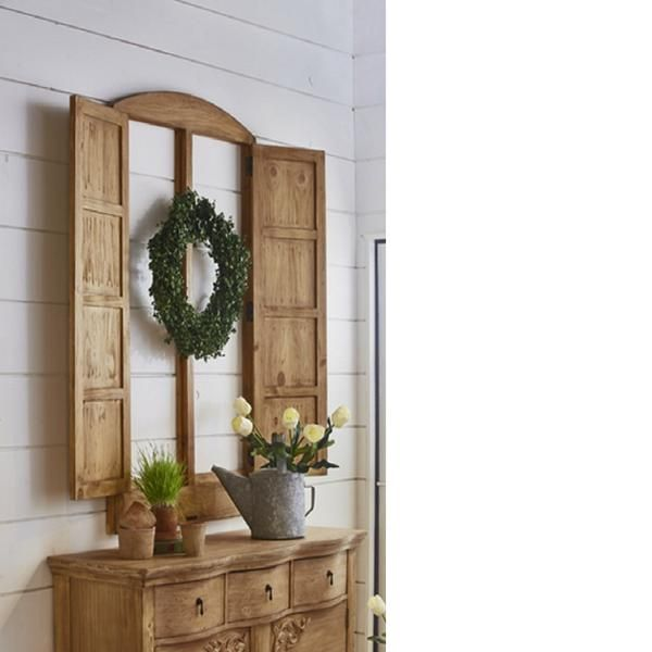 Magnolia Home Decor magnolia home eased arched double door window wall decor | accent