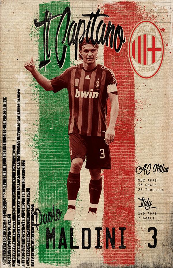 Maldini Soccer Greats On Behance Foto Di Calcio Squadra Di Calcio Calcio