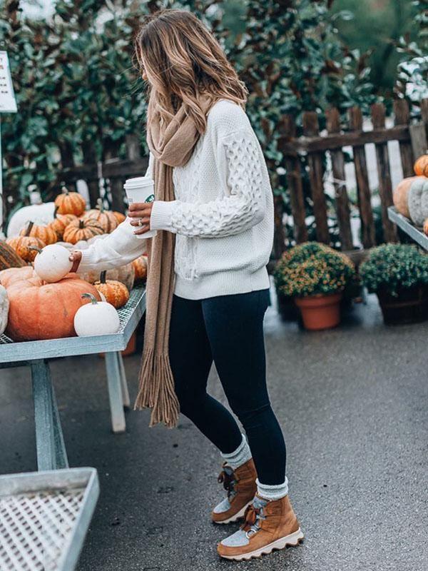 Long Sleeves White Knitting Sweater Tops