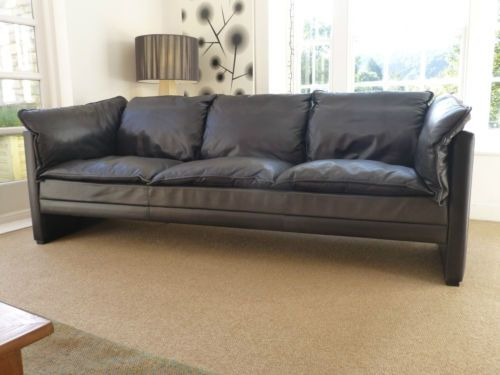 Ordinaire Danish Vintage Modernist Black Leather Sofa, Goose Down Cushions