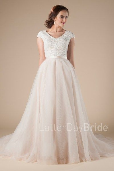 ba6ba82edf86 modest wedding dresses, Tiana with ballgown fit, lace, and blush color |  LatterDayBride & Prom | LDS Wedding Dress | Modest Wedding Dress | Modest  Bridal ...