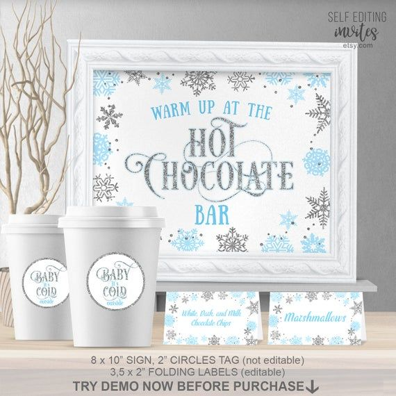 Winter Baby Shower, Blue and silver, Hot chocolate bar kit, Baby Its cold outside, Hot chocolate bar sign, Printable, Self editing #hotchocolatebar