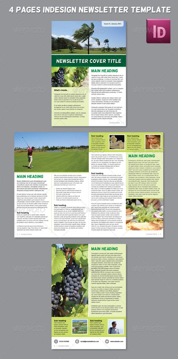 4 pages indesign newsletter template pinterest newsletter