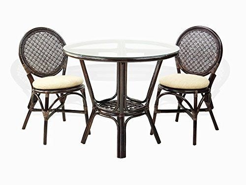 3 Pc Rattan Wicker Dining Set Round Table Glass Top+2 Denver Side Chairs. Dark Brown images