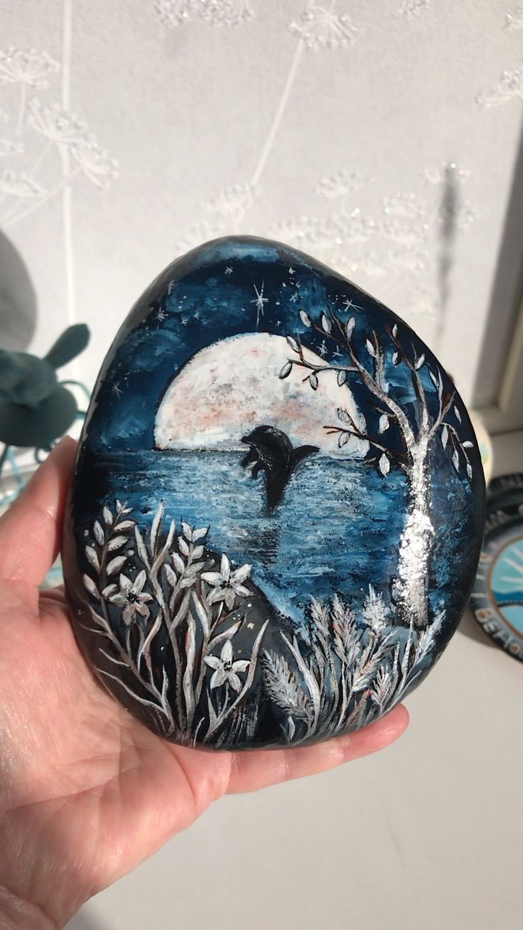 Dolphin in the Silver Moonlight painted rock by Christine Onward,  Dolphin in the Silver Moonlight painted rock by Christine Onward,