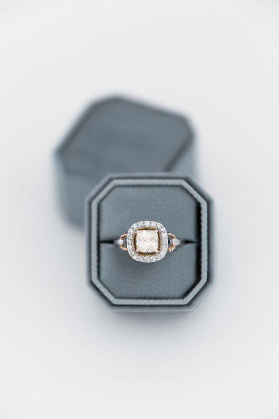 Octagon Velvet Ring Box Single Slot Double Slot Modern Ring Box Engagement Ring Box Wedding Ring Box Custom Ring Box