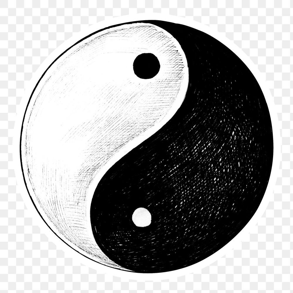 Hand Drawn Yin And Yang Symbol Sticker With A White Border Design Element Free Image By Rawpixel Com Hein How To Draw Hands Design Element Border Design