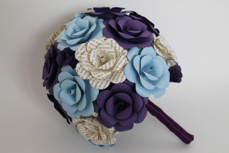 Book Pages Purple And Blue Paper Flower Bouquet Flower Bouquets