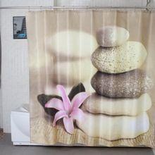 Полиэфирной ткани ZEN GARDEN каменный цветок водонепроницаемый сгустите занавески для душа 180 см * 180 см(China (Mainland))